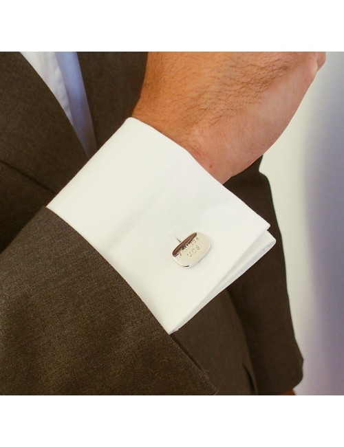 Cufflink rectangular cufflink silver personalized man