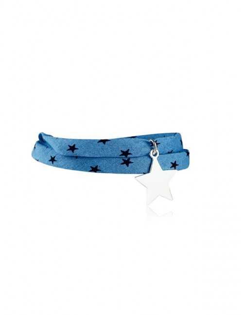 Bracelet Liberty 2 tours étoile argent personnalisé femme