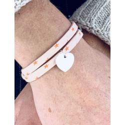 Bracelet Liberty 2 tours coeur argent personnalisé femme