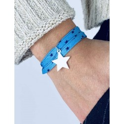 Liberty bracelet 2 turns star silver personalized woman
