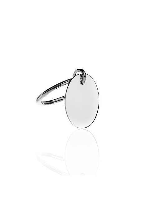 Oval silver key ring personalized man
