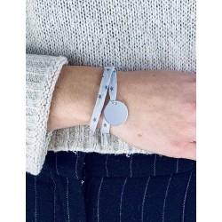 Bracelet Liberty médaille personnalisée 20mm 2 tours femme