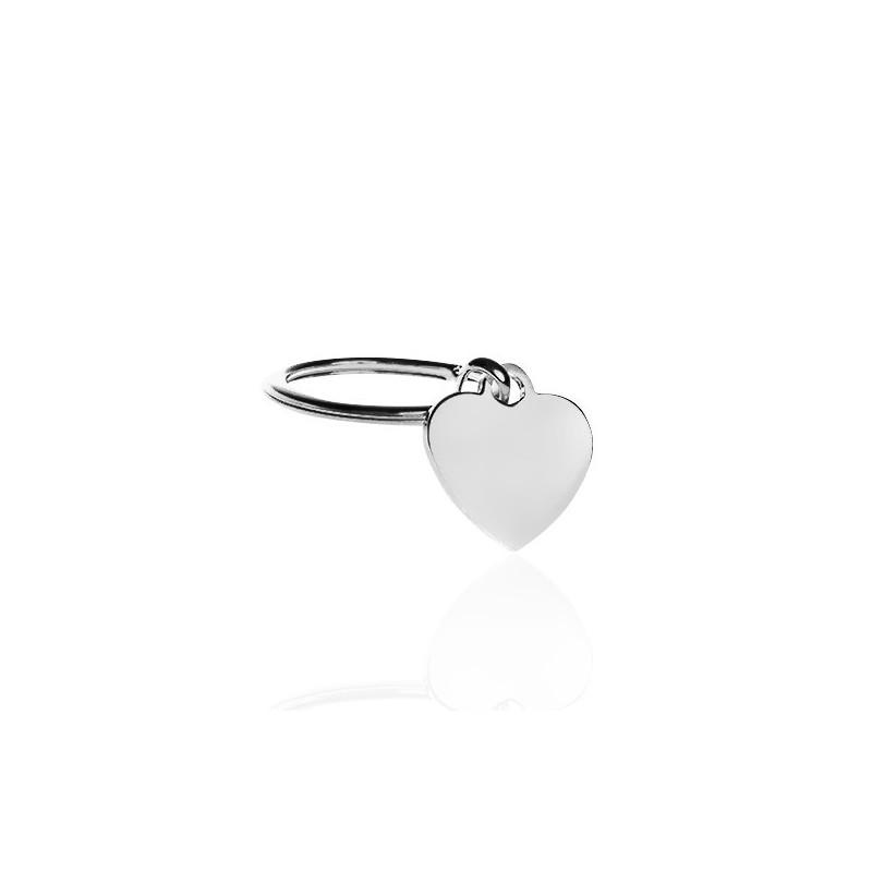 Porte clé coeur argent personnalisé femme