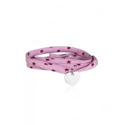Bracelet Liberty 3 tours coeur argent personnalisé femme