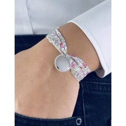 Bracelet Liberty large médaillon perlé à graver femme