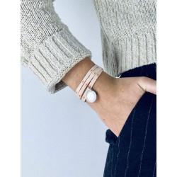 Bracelet Liberty 3 tours médaillon bohème personnalisé femme