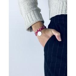 Bracelet Liberty 3 tours médaillon perlé personnalisé femme