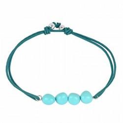 Women's adjustable rope bracelet turquoise beads