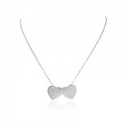 typography necklace 2 hearts silver personalized woman