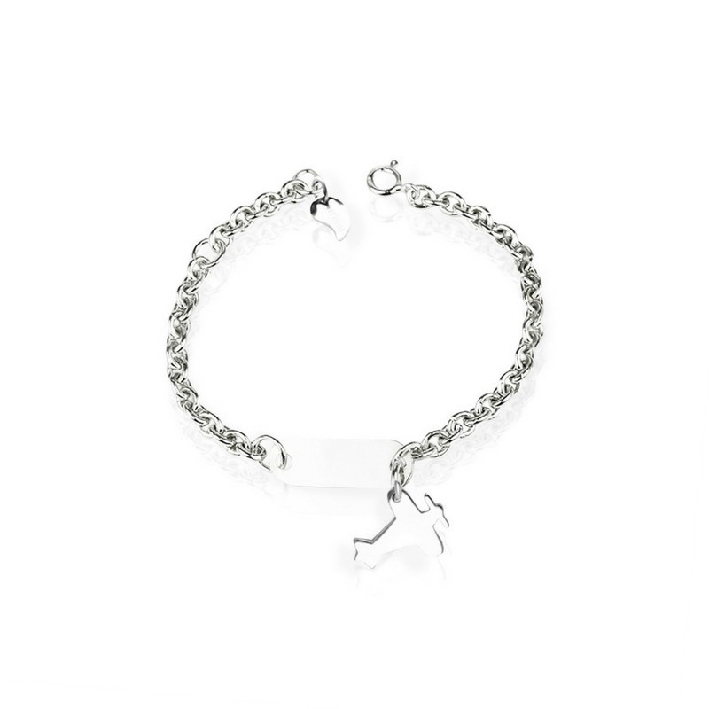 Silver aircraft bracelet personalized child