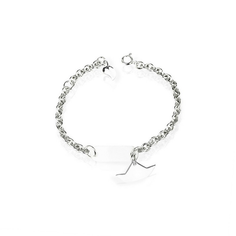 Silver personalized boat bracelet for children