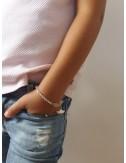 Silver personalized boat bracelet for children