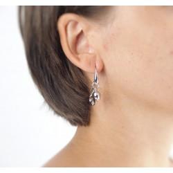 Silver earrings smoky quartz drop