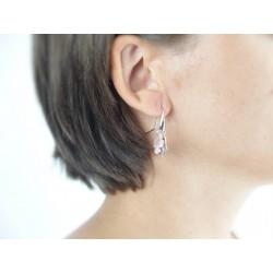 Boucles d'oreilles argent trèfle nacre