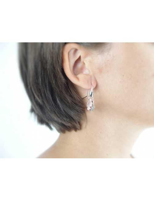 Boucles oreilles trèfles nacre