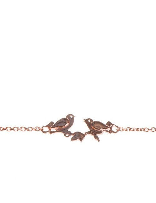 Bracelet plaqué or oiseaux femme