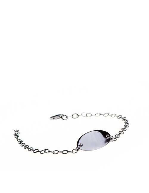 Round ID bracelet silver personalized baby