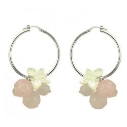 Boucles oreilles créoles roses