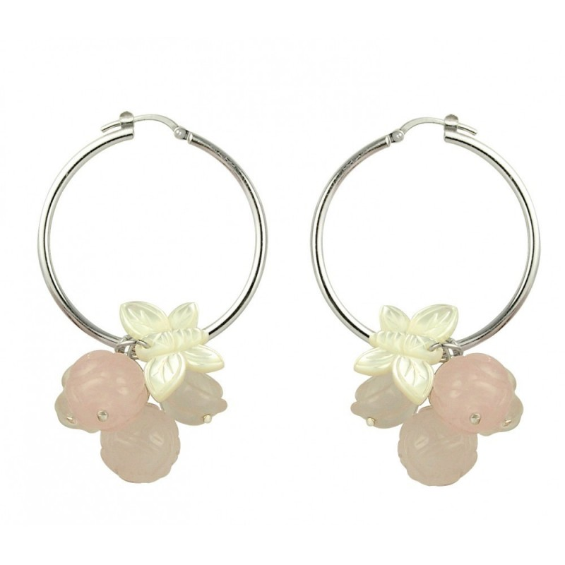Cluster roses hoop earrings