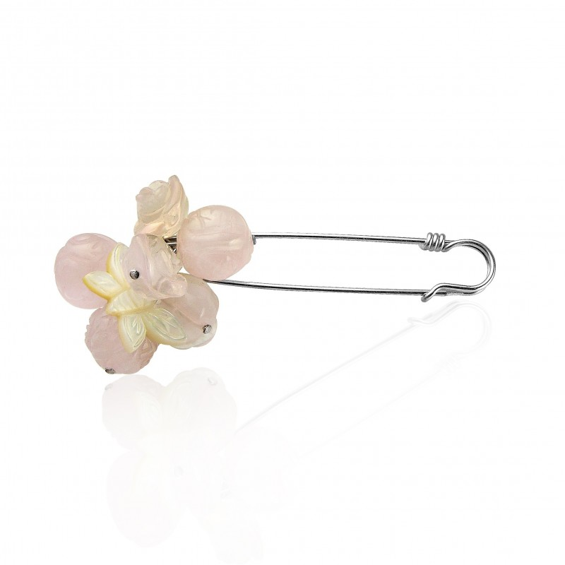 Broche femme épingle fleur rose papillon nacre
