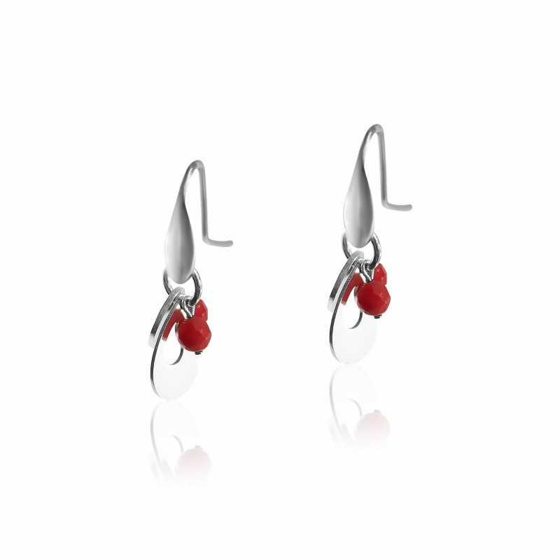 Red coral hook earrings
