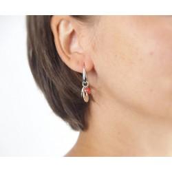 Boucles d'oreilles crochet argent corail