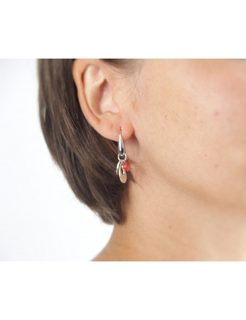 Red coral hook earrings