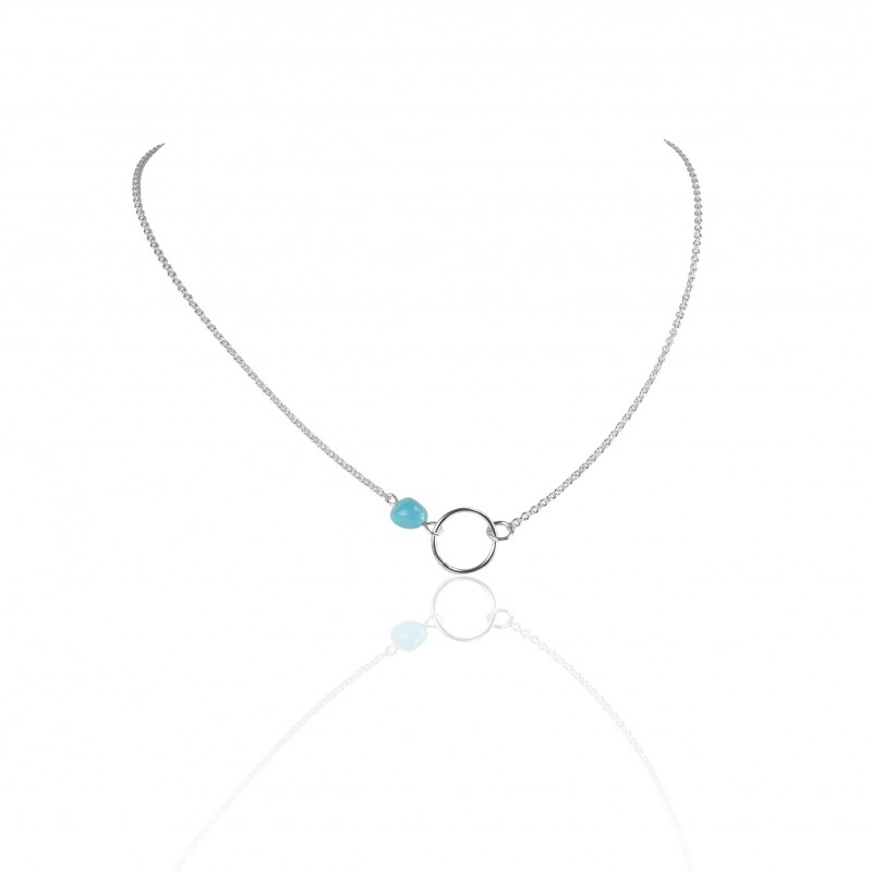 Circle turquoise necklace woman
