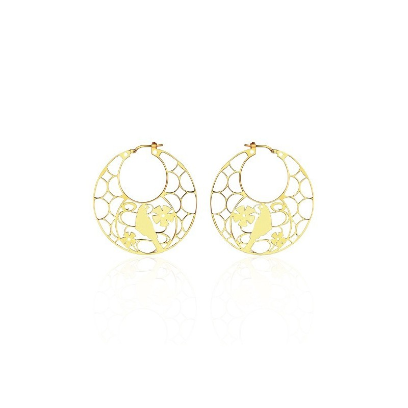 Vermeil bird hoop earrings