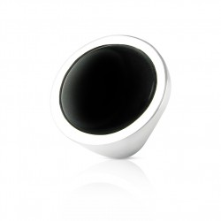 Black agate ring silver woman