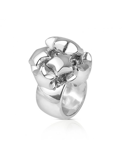 Large silver and star ring for women