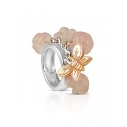 De kwarts roze zilveren ring van de vrouw