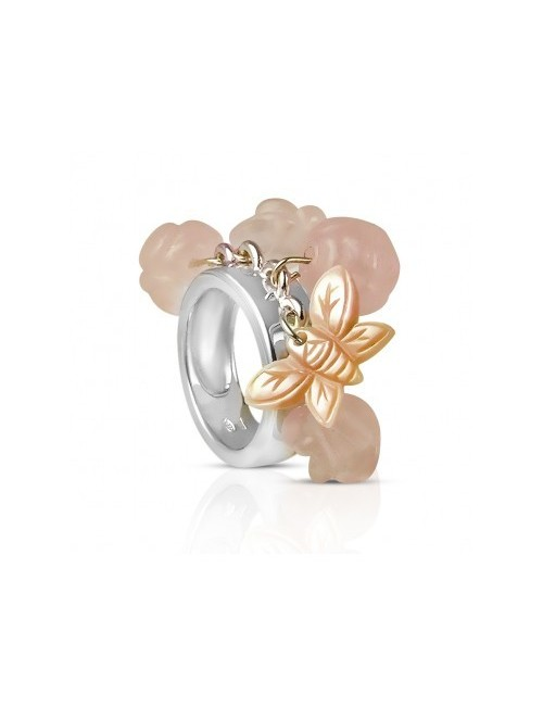 Ring pink silver quartz woman