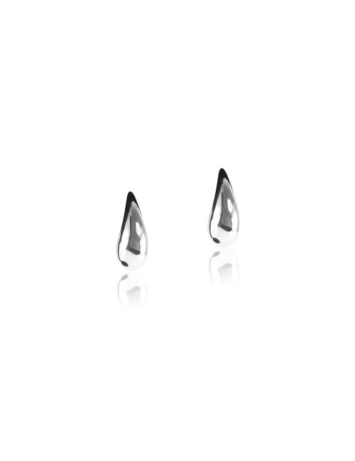 Silver earrings in water drop shaped