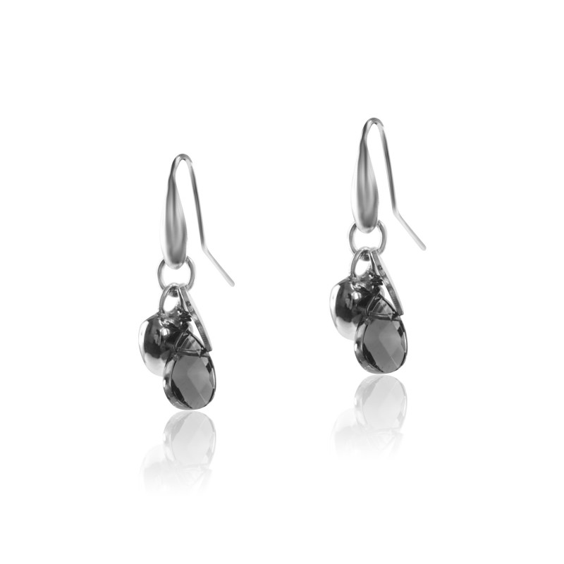 Silver earrings smoky quartz drop