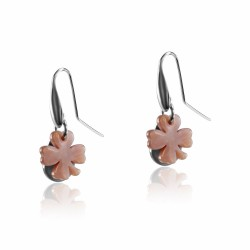 Silver earrings clover mother of pearl