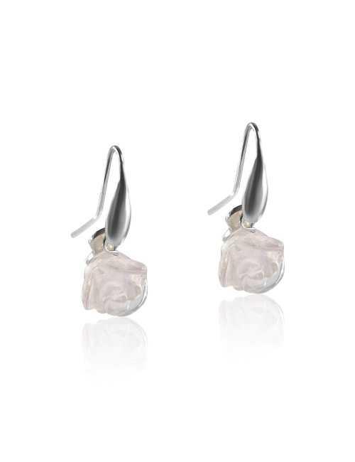 Boucles oreilles roses quartz
