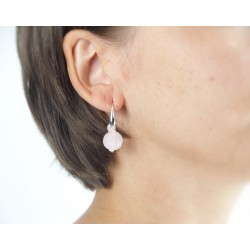 Boucles d'oreilles argent boule de rose