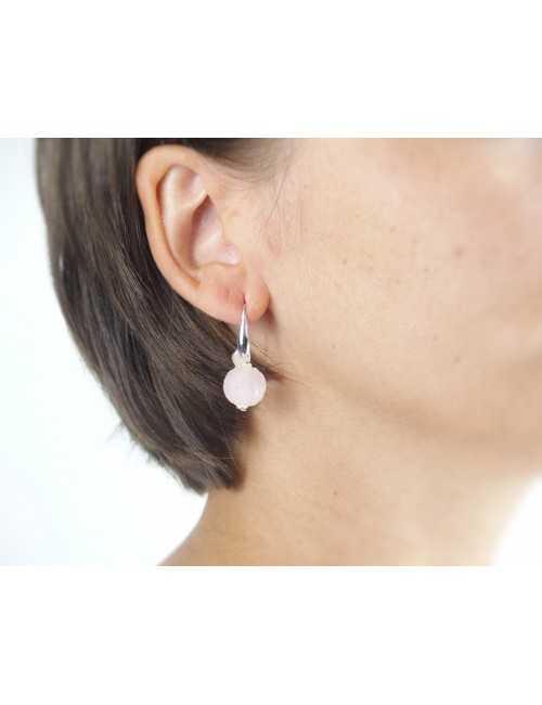 Boucles oreilles boules quartz
