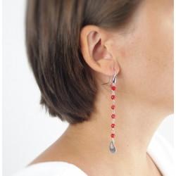Boucles d'oreilles argent corail