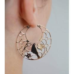 Boucles d'oreilles créoles vermeilles bird