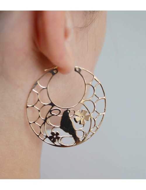 Vermeil bird hoop earrings