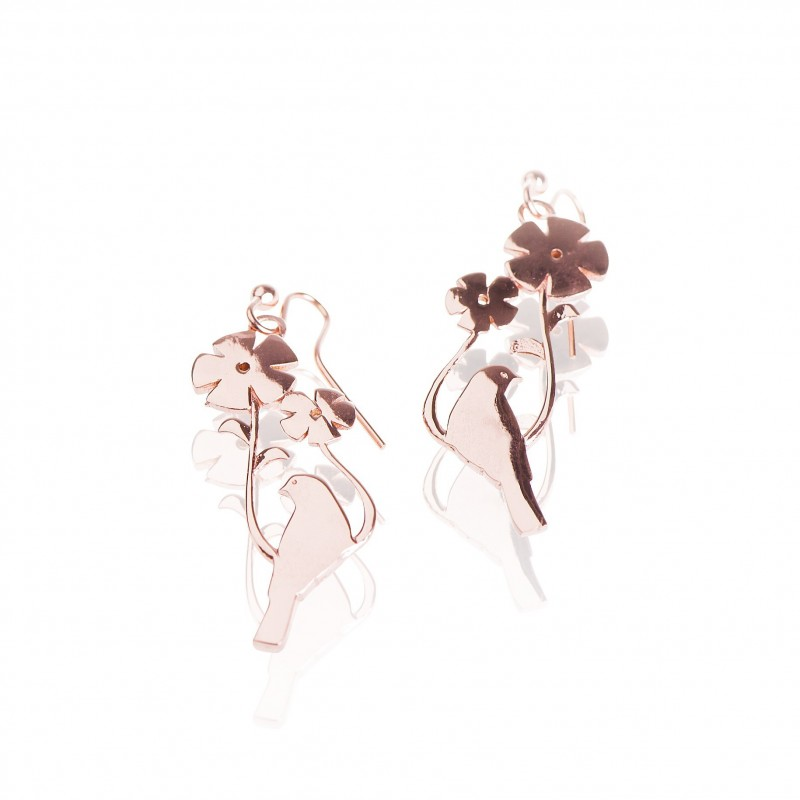 Vermeil birds hanging earrings