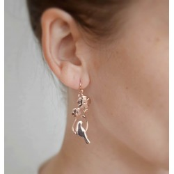 Vermeil birds hanging earrings